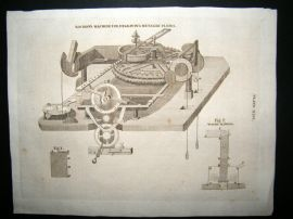 Science & Tech C1790 Antique Print. Rochon's machine for metalic Plates 46